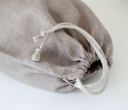 Linen bag close up with cotton string closure Stock Images