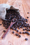 Linen bag with coffee beans, a spoon and oriental. Teapot and cinnamon Royalty Free Stock Photos