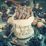 Linen Bag Embroidered Happy New Year with Sticks Stock Image