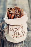 Linen Bag with Embroidery Happy New Year. Sticks Stock Image