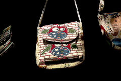 A linen bag in the folk style. Bag fabric in folk style in Vietnam market Royalty Free Stock Photography