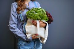 Linen Bag with Lettuce Salad in woman hands Stock Photos