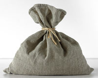 Linen bag standing on a white background Royalty Free Stock Image