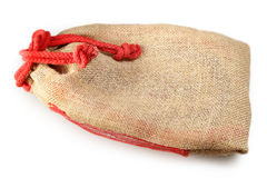Linen bag on a white background Stock Photo