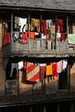 Linen on a balcony of Bandipur. Bandipur, Nepal, is a hilltop settlement in Tanahu District. Because of its preserved, old time cultural atmosphere, Bandipur has Royalty Free Stock Photo