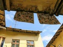 Linen on the balcony in the inner yard in Lviv, Ukraine Royalty Free Stock Image