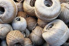 Linen balls. And linen rope reels Stock Photos