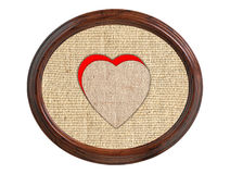Linen burlap texture with hearts in wooden frame isolated on whi Stock Photos