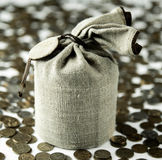 Linen canvas bag and coins, money Royalty Free Stock Images