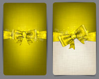 Linen cards with golden bow. Royalty Free Stock Images