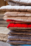 Linen chair pillows pile Royalty Free Stock Photos