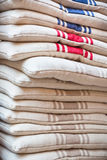 Linen chair pillows pile Royalty Free Stock Image