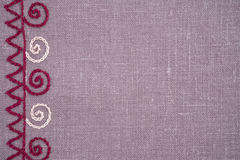 Linen cloth with hand embroidery. Linen napkin with hand-embroidered traditional folk ornament Stock Images