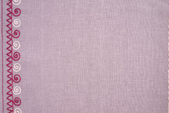 Linen cloth with hand embroidery Stock Photography
