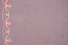 Linen cloth with hand embroidery Royalty Free Stock Photo