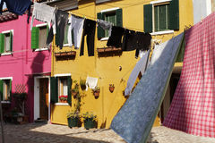 Linen on a clothesline  in Burano Royalty Free Stock Photo