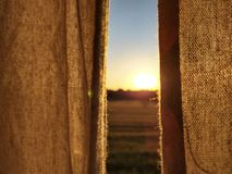 Linen curtains with beautiful sunset in wheat field. royalty free stock photography