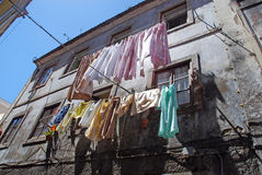 The linen is dried in old portugal town Royalty Free Stock Images