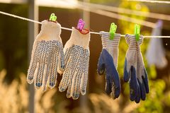 Linen dries on a rope in the open air Stock Image
