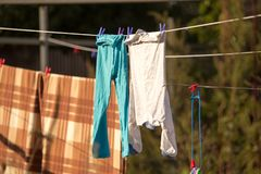 Linen dries on a rope in the open air Royalty Free Stock Photos