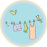 Linen dry on a cord. And birds royalty free illustration