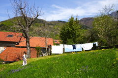 Linen drying at spring Stock Photos