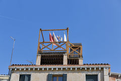 Linen drying on the terrace of old house in Venice Stock Photography