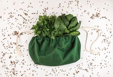 Linen eco sack with fresh spinach and parsley. royalty free stock photography