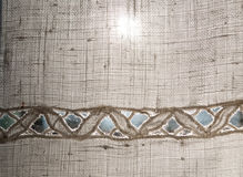 Linen fabric with embroidery Royalty Free Stock Photography