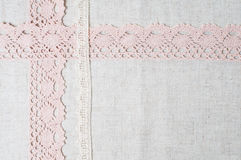 Linen fabric and handmade lace stock image