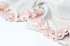 Linen fabric and handmade lace Stock Images