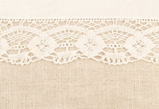 Linen fabric with lace Royalty Free Stock Photo