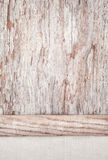 Linen fabric on the old wooden background Stock Photo
