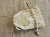 Linen fabric pouch Stock Photos