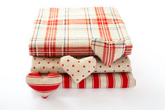 Linen fabric with red polka dots, plaid and Stock Photos