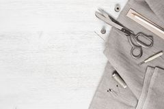 Linen fabric and sewing tools Royalty Free Stock Photography