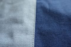 Linen fabric in shades of blue. From above Stock Photos