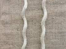 Linen fabric and string Stock Image
