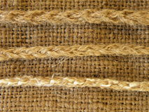 Linen fabric with strings. Linen fabric with various strings Stock Photo