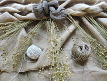 Linen fabric and thread Royalty Free Stock Image