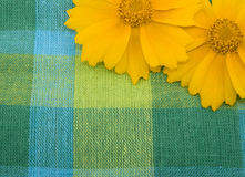 Linen fabric and yellow flower Stock Image