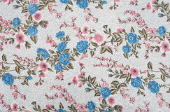 Linen fabrics. With retro floral pattern Royalty Free Stock Photos