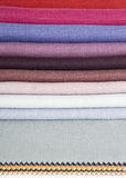 Linen fabrics. Colorful display of linen fabrics Royalty Free Stock Images