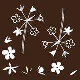 Linen flowers set in brown, wild flowers, wild flower pattern, field background.  Stock Photos