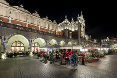 Linen hall during the night in Krakow, Lesser Poland. Royalty Free Stock Image