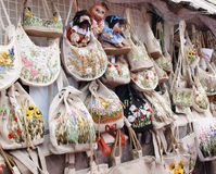 Linen handmade bags Royalty Free Stock Images