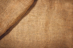Linen jute fabric background. Visible texture Royalty Free Stock Photography
