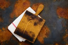 Linen kitchen towel and cutting board Stock Image