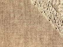 Linen with lace. Linen background with lace, close-up royalty free stock photography