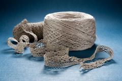 Linen Lace Crochet. Ribbon of Fine Craft Linen Lace Royalty Free Stock Images